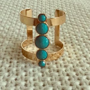 Jewelry - Gold and turquoise cuff bracelet